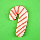 Candy cane sugar cookie with decorative icing