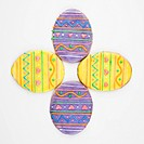 Four Easter egg sugar cookies with decorative icing