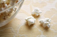 Close_up of popcorn near bowl
