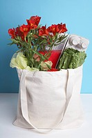 Cut flowers and vegetables in paper bag