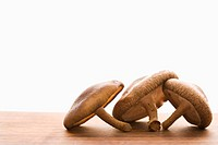 Three brown mushrooms on wooden cutting board with white background.