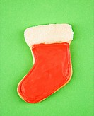 Christmas stocking sugar cookie with decorative icing