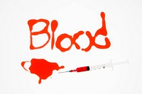 Hypodermic needle with red liquid and blood spelt out on white background (thumbnail)