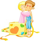 Girl, gift, boy, heart, embrace, event (thumbnail)
