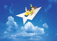 Children On Paper Airplane