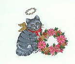 Angel Cat With Wreath