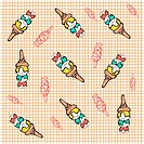indoors, wallpaper, background, corn, icecream, design arts, pattern
