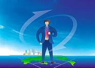 Businessman Standing On Map