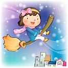 broomstick, snow, flying, smiling, chirstmas, winter