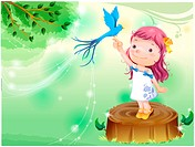 Standing, fairy tale, bird on finger, bird, forest, nature (thumbnail)