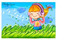 wind, fairy tale, windy, field, headphone, nature