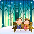 bench, snow, couple, boy, girl, child