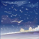 building, snowing, house, village, seashore, snow