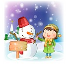 Smiling, snow, snowman, girl, chirstmas, winter (thumbnail)
