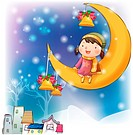 crescent moon, snow, decoration, christmas bell, chirstmas, winter