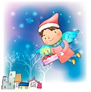 village, snow, wings, cake, chirstmas, winter