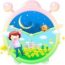 night, teeth, day, clock, childhood, girl