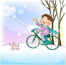 outdoors, dog, pet dog, riding, bicycle, snow