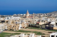 Aerial view of St. Lawrenz, Gozo Island, Malta, Mediterranean, Europe