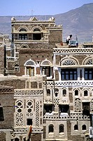 traditional houses, san´a, yemen, arabian peninsula