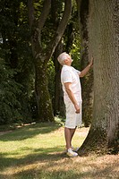 Senior caucasian man looking at a tree, Side View