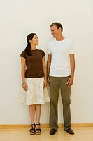 Mid caucasian couple standing, Front View
