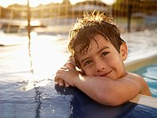 Boy in swimming pool portrait