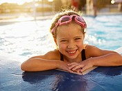 Young girl in swimming pool portrait