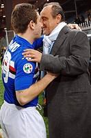 antonio cassano hugs delio rossi,genova 28_01_2009 ,serie a football championship 2008_2009 ,sampdoria_lazio