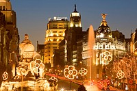 Cibeles Square Plaza de Cibeles and Cibeles fountain, Calle de Alcala at Christmas time, Madrid, Spain, Europe