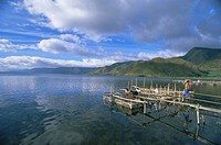 Fish rearing cages, Tongging, northern tip of Lake Toba, Southeast Asia´s largest lake, North Sumatra, Sumatra, Indonesia, Southeast Asia, Asia