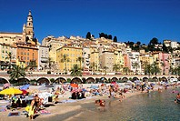 Beach of ´Sablette´ in MentonMenton, Alpes-Maritimes, 06, PACA, French Riviera, cote d´Azur, France, Europe