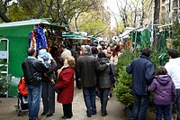 Christmas fair by Sagrada Familia temple, Barcelona. Catalonia, Spain