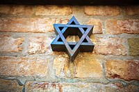 Italy, Veneto, Venice. Star of David, Magen David in the Ghetto of Venice, Cannaregio Sestiere