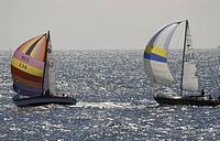 Sailboat in sea Två segelbåtar med fyllda segel på glittrande sommarhav