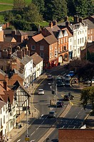 View of London Road from Worcester Cathedral, Worcestershire, England, Great-Britain, Europe
