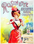 An unrecorded lithographic poster for Rosinette, Absinthe Rose Oxygenee, printed by Camis. This is the only known historical reference to a rose absin...