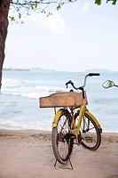 Cykel parkerad vid havet. Bicycle Parked By The Sea