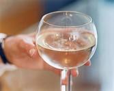 Hand håller i ett glas vitt vin. Human Hand Holding Glass Of White Wine