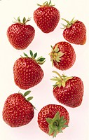 Jordgubbar mot vit bakgrund Strawberries On White Background, Close_Up