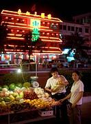 RESEBILDER, KINA, Family Standing By Street Fruit Market