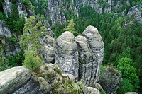 Germany, Saxony, Sandstone rocks, Saxony swiss. View to the sandstone rocks.