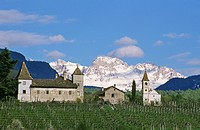 Grange in village Eppan in front of Dolomites Italy