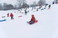 Children are sledging down a hilll