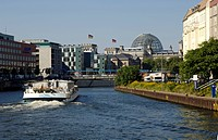 Boat for a trip on the river Spree through the neighbourhood of government, Berlin, Germany