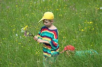 Two little boys brothers 6 and 8 years old playing in a flower meadow and gathering flowers