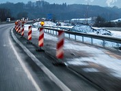 Bavaria, GER, Germany: Road works at the motorway.