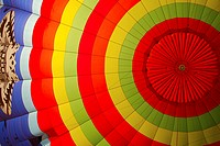 Colourful envelop of a hot-air ballon from the inside