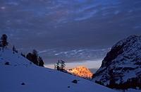 Last light on Monte Cristallo Dolomites Italy