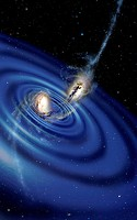 Colliding galaxies and gravity waves, artwork. The collision of the galaxies at centre is producing gravity waves blue. Missions to detect such gravit...